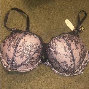 Pink and black lace Victoria secret bombshell bra